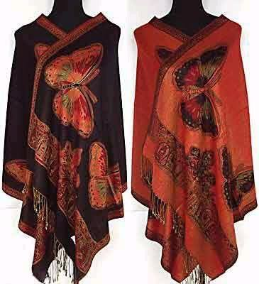 New Arrival Black Red Spring Women's Reversible Two-Face Shawl Pashmina Silk Scarf Wrap Scarves Butterfly WS001-J(China (Mainland))