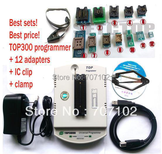 New TOP3000 USB universal programmer EPROM MCU PIC AVR + 12 adapter + SOP8 clip + clamp socket support more than 30000 IC(China (Mainland))