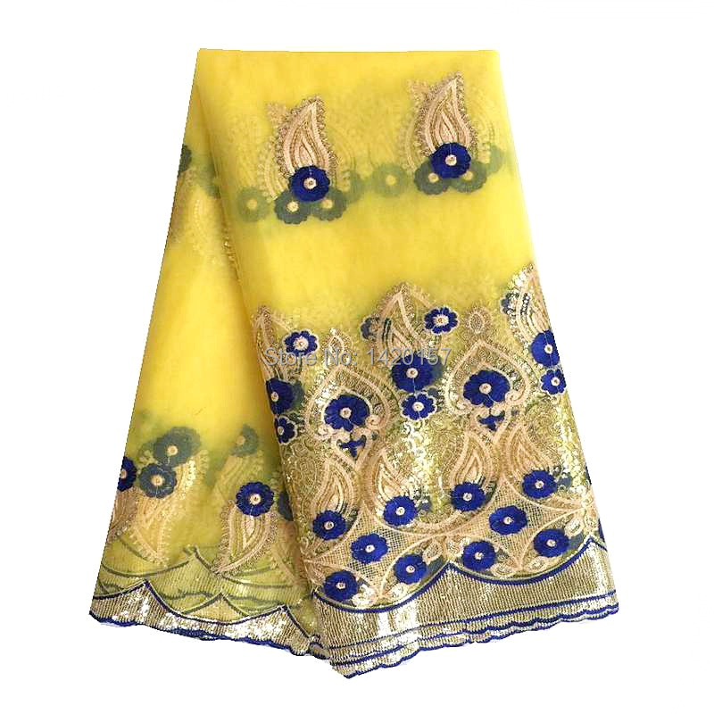 2016 Free Shipping Hot Selling Embroidery Laces Yellow Pink Net Africa French Lace With Sequins Fabric For Wedding dress(China (Mainland))