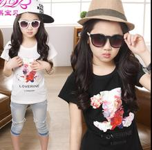 New Summer Children Clothing Baby Girl Boy Printing Letters Cotton Round Neck Kids Tops Short Sleeve T-Shirt / white black @9872
