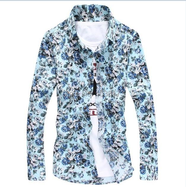 Plus size flower print shirts new fashion floral shirt men for Flower print mens shirt