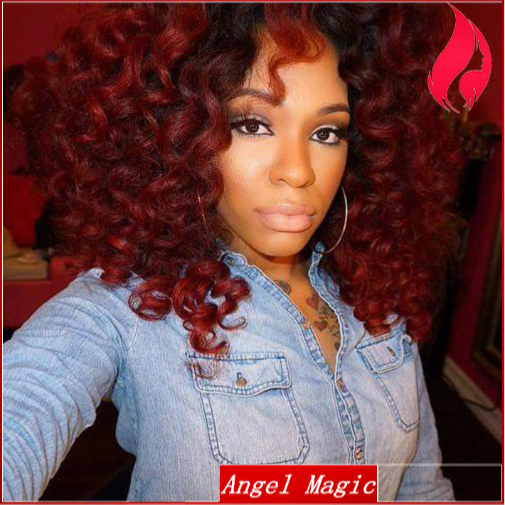Brazilian Short Curly Full Lace Wig Ombre Red Human Virgin Hair Glueless Lace Front Wigs 150 Density Remy Lace Frontal t 1b red(China (Mainland))