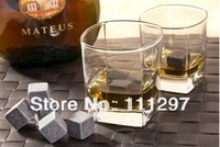 whisky Stone, 9pcs/set with a velvet bag whiskey rock stone cube stone