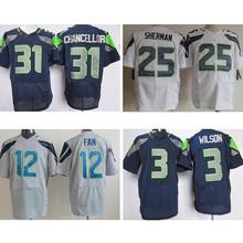 cheap Mens #25 Richard Sherman #12 12th Fan #31 Kam Chancellor #3 Russell Wilson 89# baldwin College Navy Elite Stitched Logos(China (Mainland))