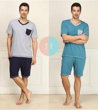new fashion casual men's short-sleeved pajama suit(China (Mainland))