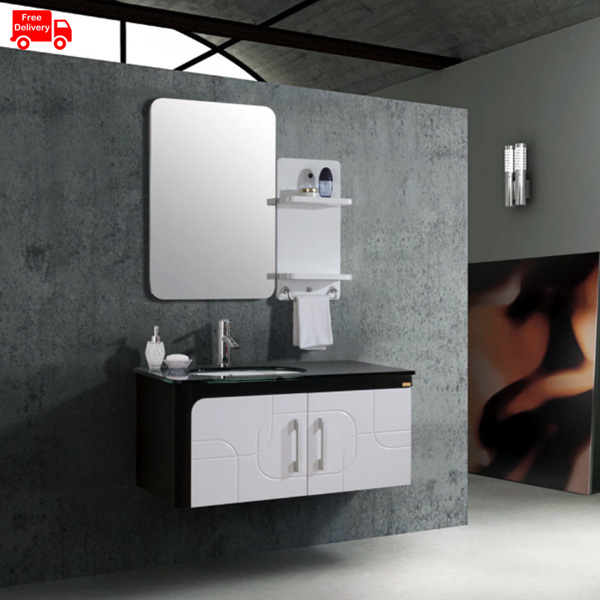 1000mm 40 Inch Vanity For Bathroom With Tempered Glass Countertop V55 1000 In Bathroom