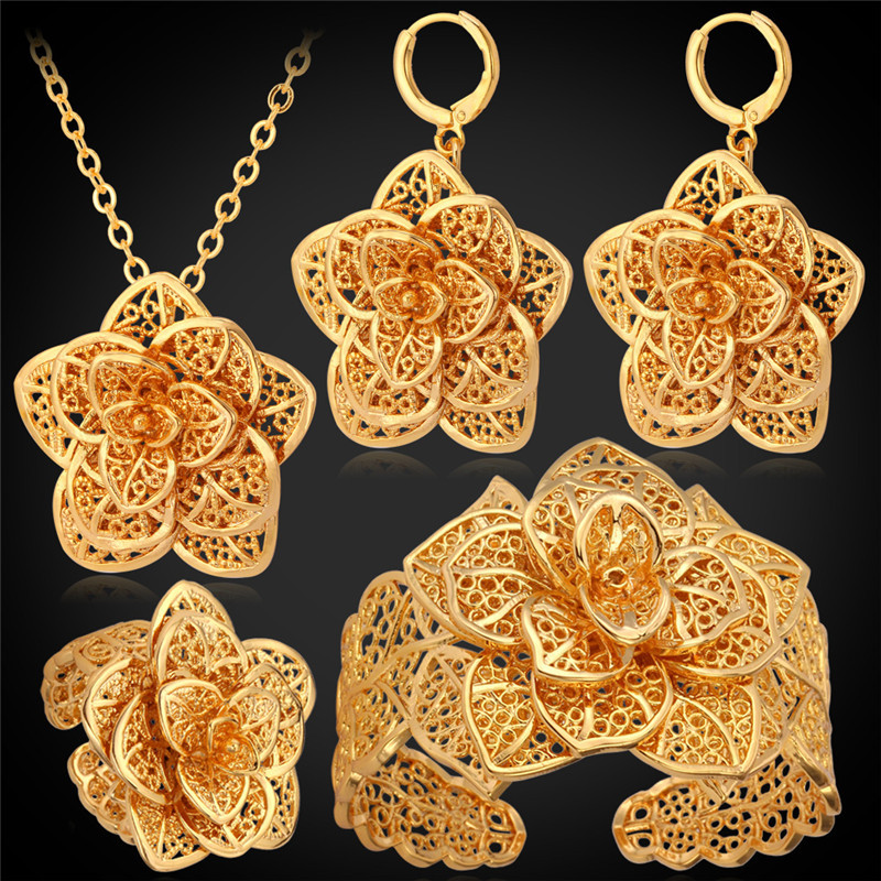 Luxury Flora Necklace Earrings Bracelet Ring Set For Princess 18K Gold Plated Flowers Wedding Jewelry Sets For Women MGC PEHR483
