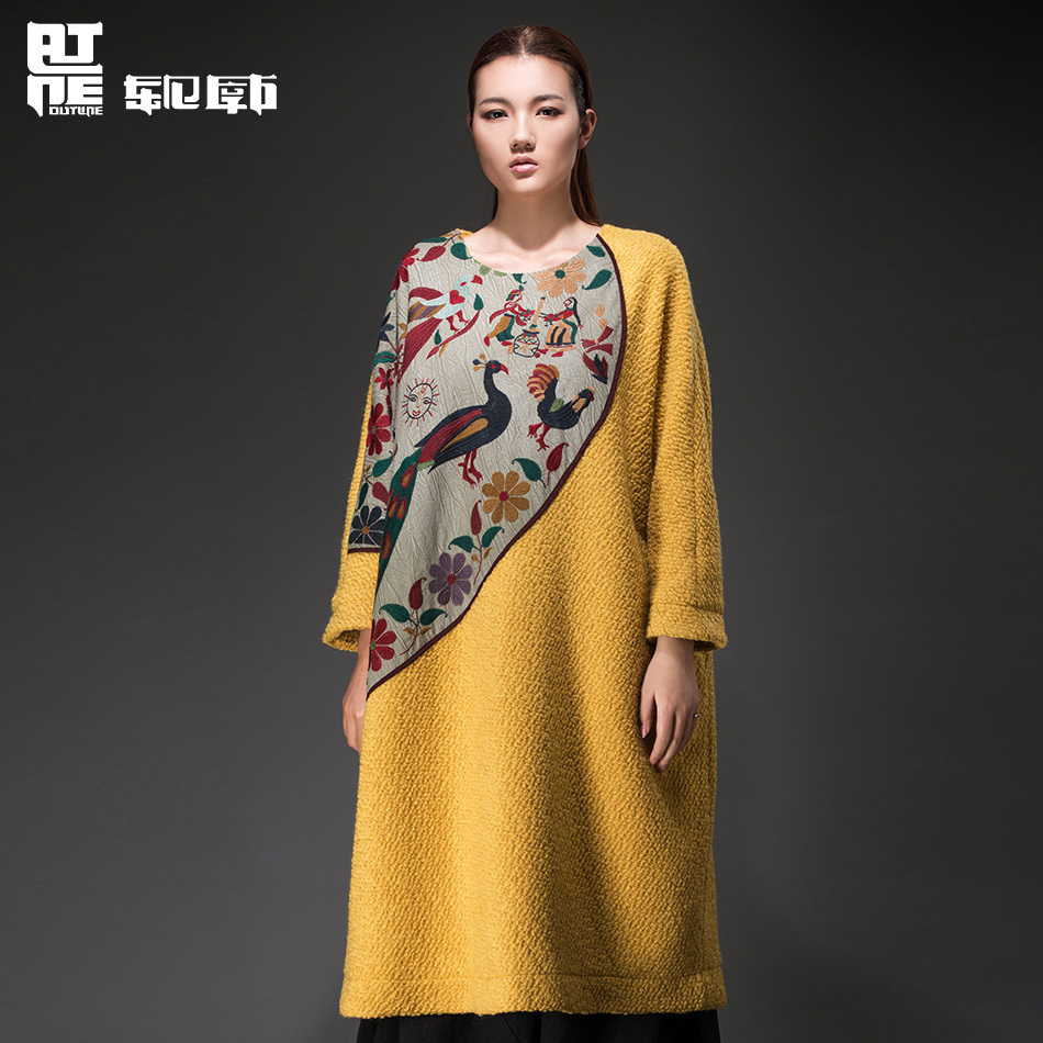 Outline 2014 Winter Folk Style Long Sleeve Collage Pullovers Embroidered Wool Coat China Impression Woman Coat L144Y028(China (Mainland))