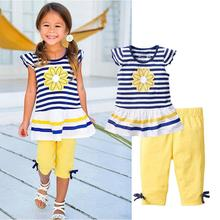 New Girls Clothing Sets Baby Kids Clothes Suit Children Short Sleeve Striped T-Shirt +Pants