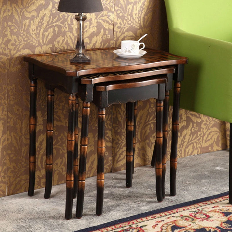 Retro hand painted side table set coffee table antique for Side coffee table set