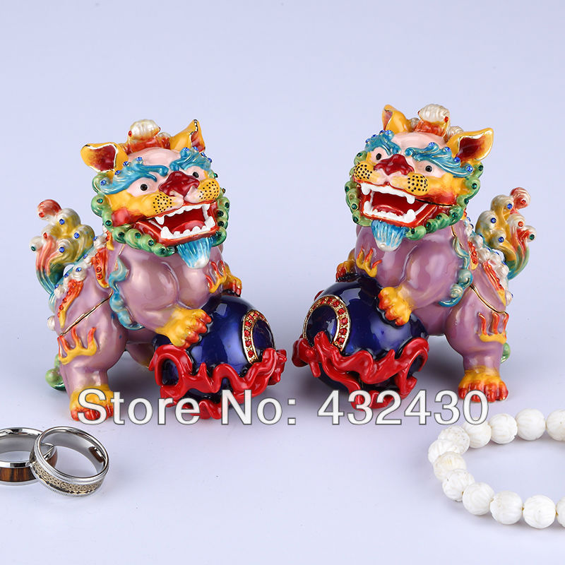 Keyeast Asia /2013Free Shipping/A pair of stone lions / Pewter jewelry box /Trims / Enamel Pure manual / Taiwan manufacturing(China (Mainland))