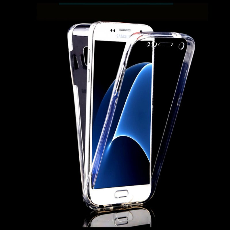 Full Body Protection Mobile Phone Case Clear Silicon TPU Transparent Touch Screen Front+Back Cover For Samsung Galaxy S7 Edge(China (Mainland))