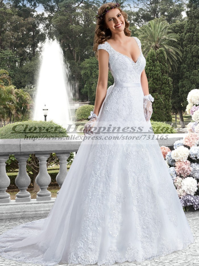 Vestido de noiva 2015 a line cap sleeve lace wedding dress for Country wedding dresses cheap