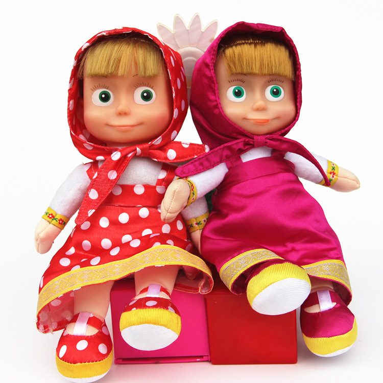 Russian Masha and Bear plush Dolls Baby Children  Stuffed & Plush Animals -Style in hand best gift(China (Mainland))