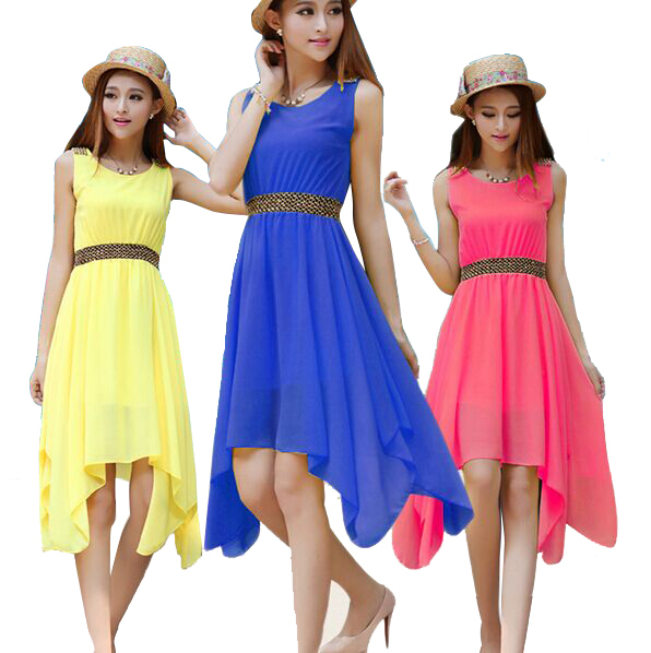 2015 new spring fashion ladies solid color sleeveless summer dress irregular round neck chiffon dress Casual Dress S-XL(China (Mainland))