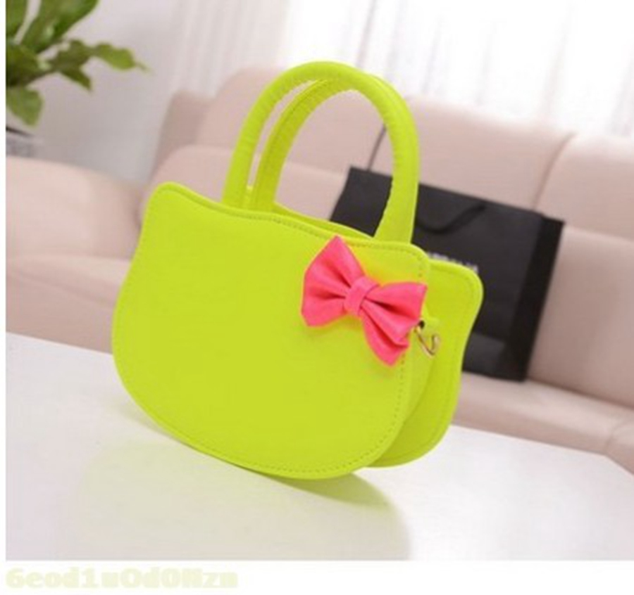 Cute Litttle Girl PU Leather Handbag With Bow Small Women Tote Bags Pink Peekaboo Shoulder Bag(China (Mainland))