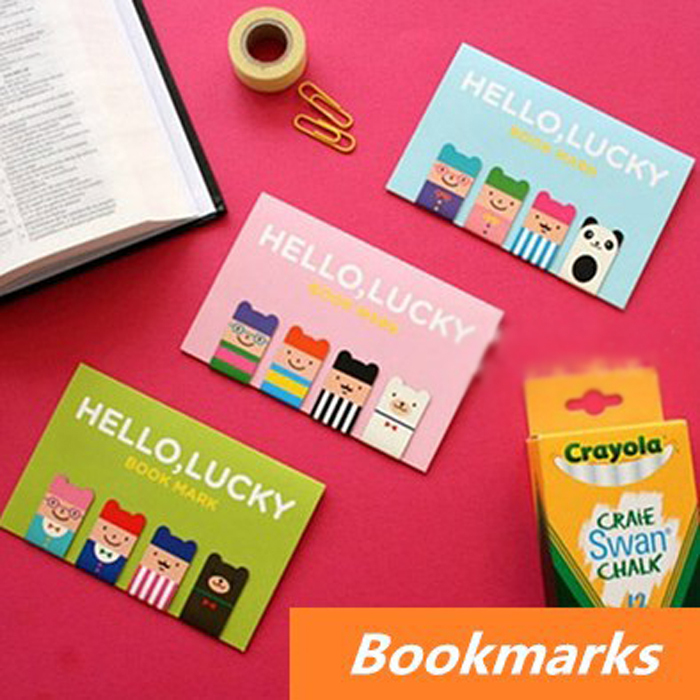 24 pcs in 6 set Cute magnetic bookmarks clips Lucky boy cartoon metal bookmark Book page holder office School supplies OL010(China (Mainland))