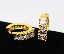 24K Gold AAA 4mm Cubic Zircon CZ Hoop EarringsHip hop Fashion Bling Bling Hoop Earrings (China (Mainland))