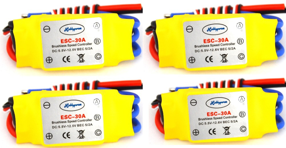 LHM031 4PCS 30A Brushless 450 helicopter multicopter Motor Speed Controller RC ESC +Free shipping(China (Mainland))