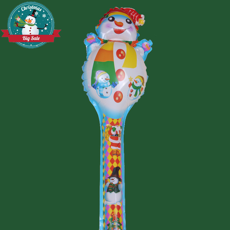 New arrived wholesales cartoon cheering stick happy christmas snow man balloon clappers inflatable balloon stick(China (Mainland))