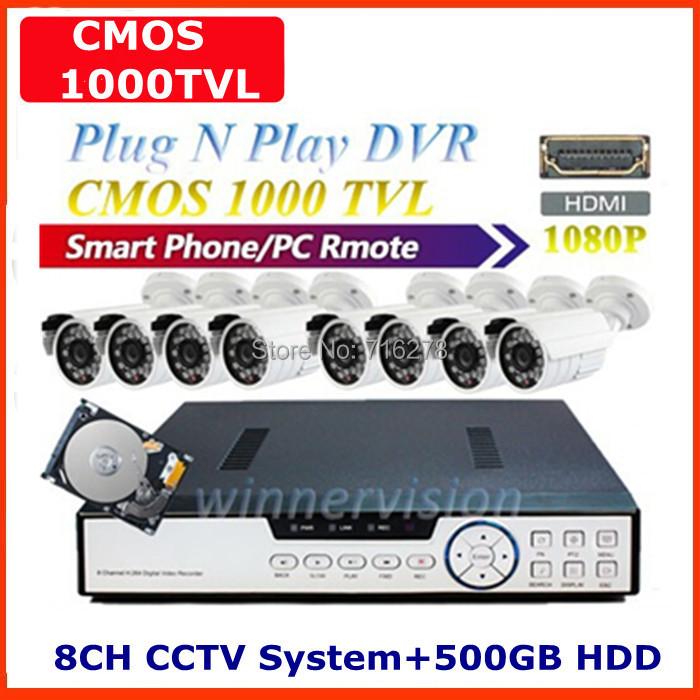CCTV 8channel dvr 8ch security cctv system kit 8pcs 1000tvl video Surveillance camera dvr Recorder hdmi 1080p with 500GB HDD(China (Mainland))
