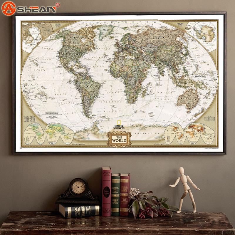 Vintage Retro Matte Kraft Paper World Map Antique Poster Wall Sticker Home Decora 72.5*47.5CM(China (Mainland))