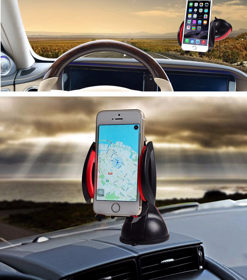 For iPhone 7 6 Universal Car Phone Holder GPS Car Holder Stand 360 Degree Rotating Flexible Navigating Socket Shockproof Fashion