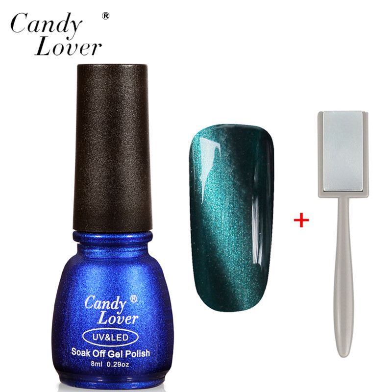Candy Lover 8ml 3D Cat Eyes LED UV Gel Polish Soak Off Gel Nail Polish Long-Lasting Magnetic Gel Lacquer Perfect Summer Nail Gel(China (Mainland))