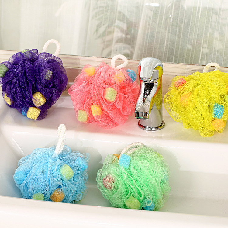 Candy colorful bath ball flower Bath Scrubber Shower Spa Sponge Body Cleaning Scrub Ball Brush Massager Sponges & Scrubbers(China (Mainland))