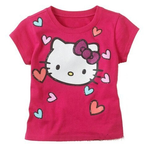 Гаджет  Girls cartoon kitty t-shirt 100% cotton short-sleeved casual summer purple Kids 2-6 years old free shipping None Детские товары