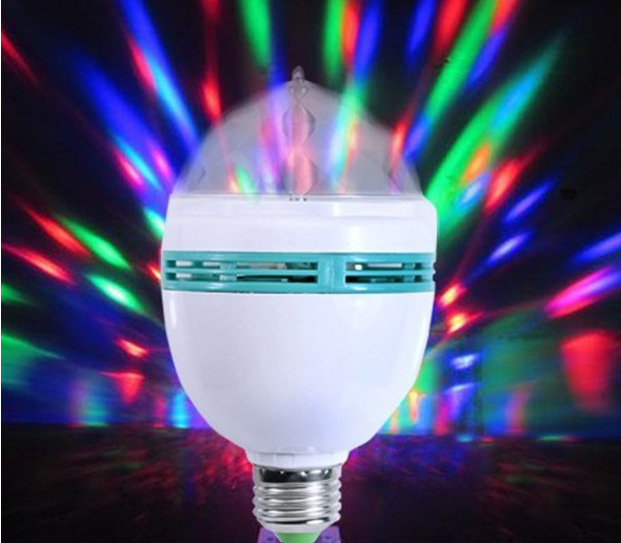 Free shipping E27 3W Colorful Auto Rotating RGB LED Bulb Housing Stage Light Party Lamp Disco L09(China (Mainland))