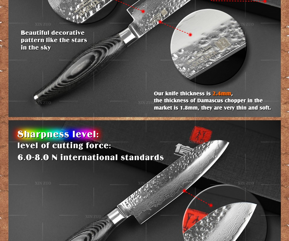 Buy XINZUO 5inch santoku knife 73 layers Damascus steel kitchen knife fruit japanese VG10 chef knife Color wood handle free shipping cheap