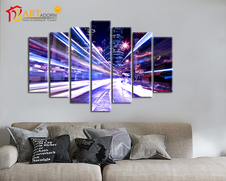 Large landscape hanging Group Painting on canvas with 7 Panels for house or office decoration(China (Mainland))