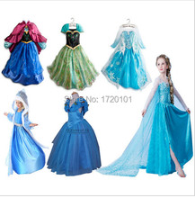 New 2015 Summer Style Baby Girls Dresses Princess Fever anna elsa dress Cosplay costume Kids cartoon girl dresses for children