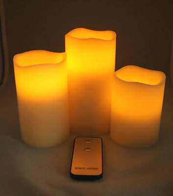 """NEW 4"""" 5"""" and 6"""" Titan Set of 3 LED Flameless Candles with Remote IVORY(China (Mainland))"""