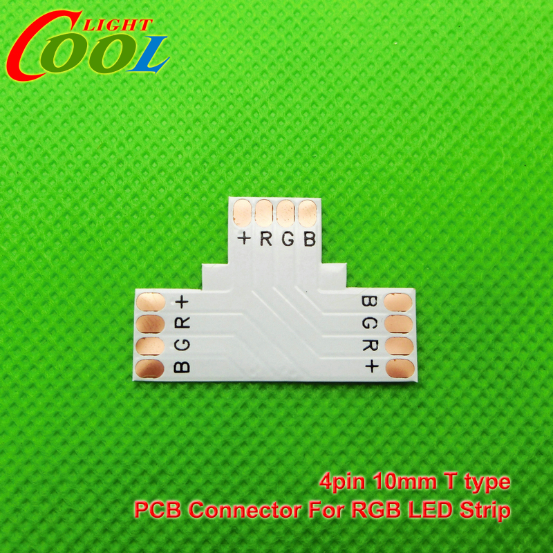 5pcs/lot LED RGB strip PCB board connector, 10mm 4pin T  type connector<br><br>Aliexpress