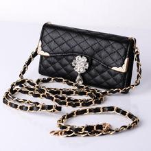 Handbags Bling Wristlet Handbag Luxury Solid Hasp Bag Leather Wallet Flip Cover Diamond Case Bags sacoche homme(China (Mainland))