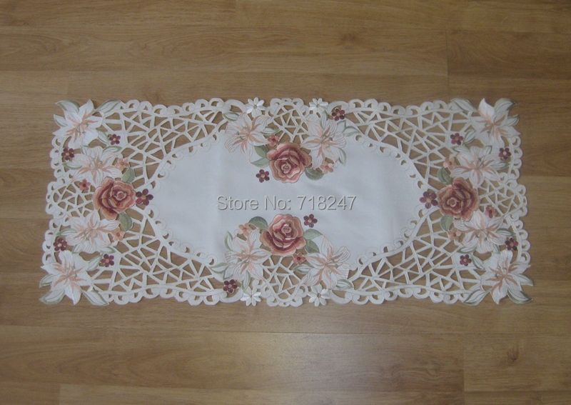 New Arrival Elegant Design Runner 40*88cm Polyester Satin Embroidery Floral Tablecloth Orange Embroidered Table Cloth Covers(China (Mainland))