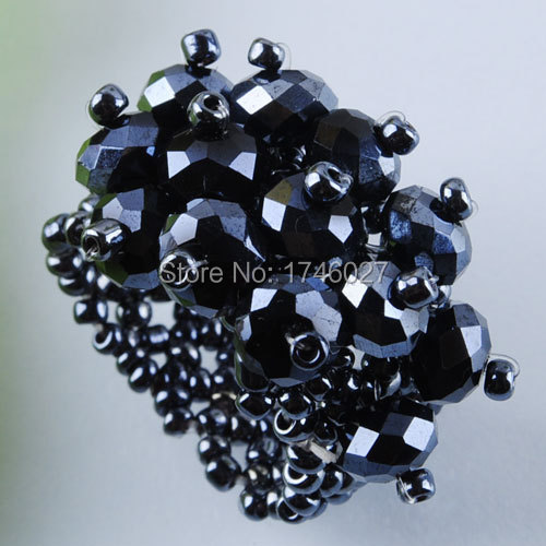 Free shipping Plating light black Crystal Faceted Beads Stretch Finger Ring US 6~10 Charm YJ125(China (Mainland))