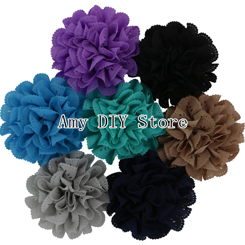 Здесь можно купить  EMS Free Shipping!500pcs/lot Chiffon Eyelet Fabric Rosette Puff Flower WITHOUT Clip,Kids Hair Flowers Baby Girl Hair Accessories  Одежда и аксессуары