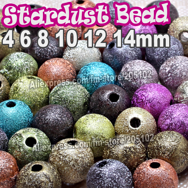 Mix Colors Stardust Round Spacer Pearl Bead,4 6 8 10 12 14mm Cubic Colorful Beads for DIY parts jewelry Bracelet Chain Necklace(China (Mainland))