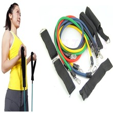 Z101- Free Shipping 11pcs Latex Resistance Bands Tubes GYM Exercise Set for Yoga ABS Workout Fitnes