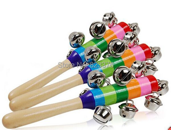 DHL Free shipping 50pcs Free shipping Baby Rainbow Toy kid Pram Crib Handle Wooden Activity Bell Stick Shaker Rattle(China (Mainland))