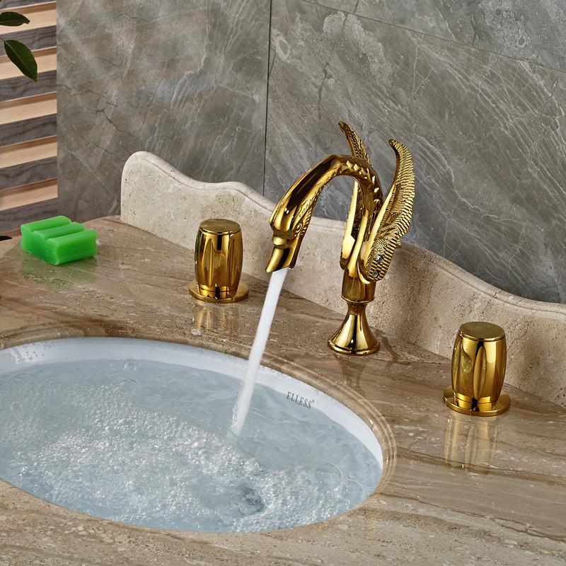 Купить Модный Дизайн Лебедь Форме Двойной Ручки Прилавок Кран для Ванной gold-пластина