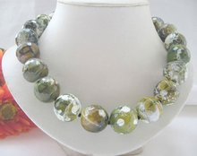 "Gorgeous 18"" 20mm green faced agate necklace(China (Mainland))"