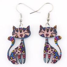 Drop Cat Earrings Dangle Long Acrylic Pattern Earring Fashion Jewelry For Women 2015 New Arrive Accessories(China (Mainland))