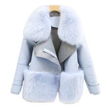Fur & Faux Fur Coat For Women Denim Tops & Jacket Female Artificial Sheepskin Coats Fluffy Rabbit Fashion Online Shop Clothing(China (Mainland))