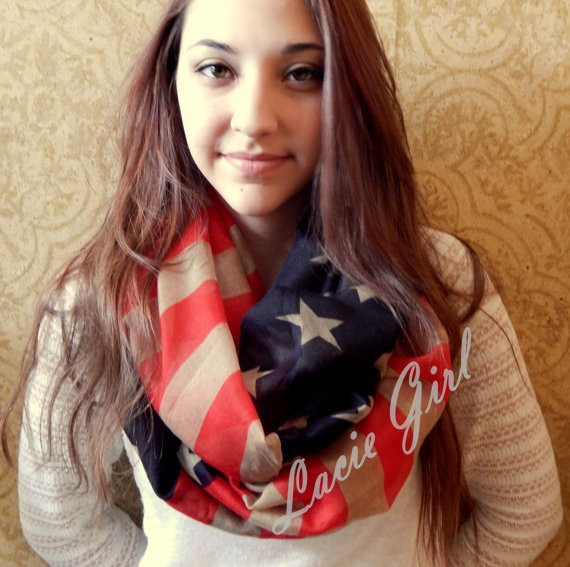 2015 New Fashion Vintage American Flag Infinity Scarfs Snood USA Scarves Shawls For Women /Ladies Free Shipping(China (Mainland))