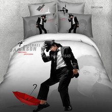 Free Shipping High Quality Micheal Jackson 100% Cotton Bedding Set  4pcs 3d Bedding queen size duvet cover (China (Mainland))