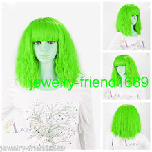 Wholesale& heat resistant LY free shipping>>New wig Cos LADY GAGA Short light Green Fireworks Very Hot Heat Resitant Wig